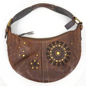 Coach Mia Round Top Crescent Moon Leather Boho Studded Espresso Brown Bag